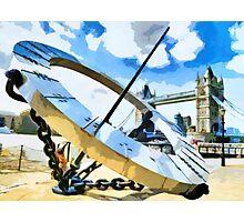 The Timepiece Sculpture + Tower bridge  Photographic Print