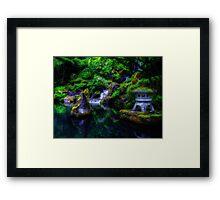 Stone Lantern and Cascading Falls Framed Print
