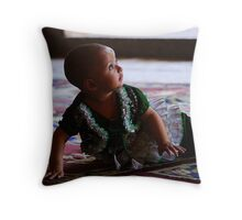A baby girl Throw Pillow