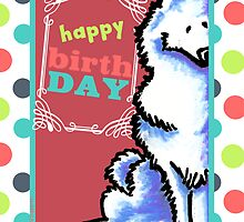 Samoyed Eskie Happy Birthday Card by offleashart