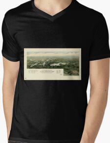 Panoramic Maps Oconomowoc Waukesha and the lake region of Waukesha County Wisconsin Mens V-Neck T-Shirt