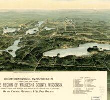 Panoramic Maps Oconomowoc Waukesha and the lake region of Waukesha County Wisconsin Sticker
