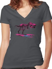 Drip Dry T-Rex Women's Fitted V-Neck T-Shirt