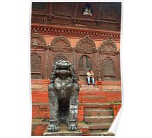 Large Stone Fu in Durbar Square Poster