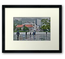 A Foggy, Rainy Day in Bergen, Norway Framed Print