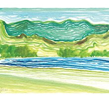 """Squiggly Seascape"" 2012 © 2012 Meagan Healy by Meagan Healy"