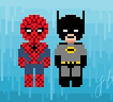 8-bit Spiderman and Batman by angrycheez