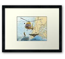 USCG Rescue Swimmer Nautical Map WA Cathy Peek Framed Print