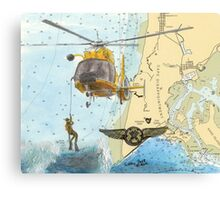USCG Rescue Swimmer Nautical Map WA Cathy Peek Canvas Print
