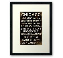 Distressed Chicago L Subway Sign Art Framed Print