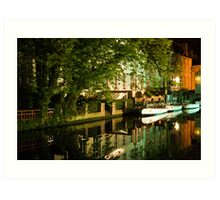 Brugge by night - reflections Art Print