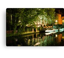 Brugge by night - reflections Canvas Print