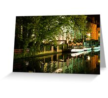 Brugge by night - reflections Greeting Card