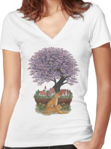 Bonsai Village Women's Fitted V-Neck T-Shirt