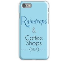 Seattle Raindrops and Coffee Shops iPhone Case/Skin