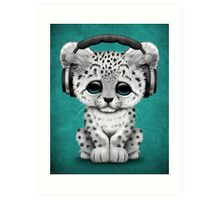Cute Snow leopard Cub Dj Wearing Headphones on Blue Art Print