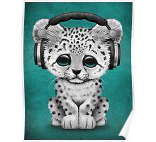 Cute Snow leopard Cub Dj Wearing Headphones on Blue Poster