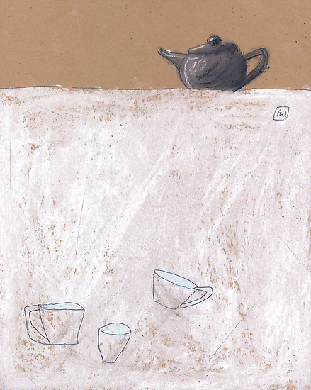 Black tea pot and three cups. by Tine  Wiggens