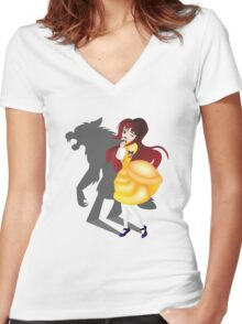 Twisted Tales - Beauty and the Beast Women's Fitted V-Neck T-Shirt