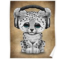 Cute Snow leopard Cub Dj Wearing Headphones  Poster