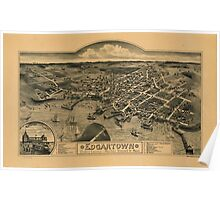 Panoramic Maps Edgartown Duke's County Martha's Vineyard Id Mass Poster