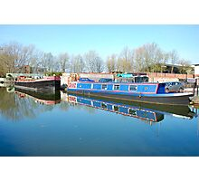 A working barge and a pleasure craft.  Photographic Print