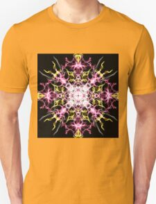 pink yellow on Black T-Shirt