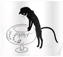 Théophile Alexandre Steinlen Animal Cat Black cat watching fish bowl Poster