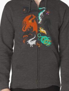 A Flight with Dragons Zipped Hoodie