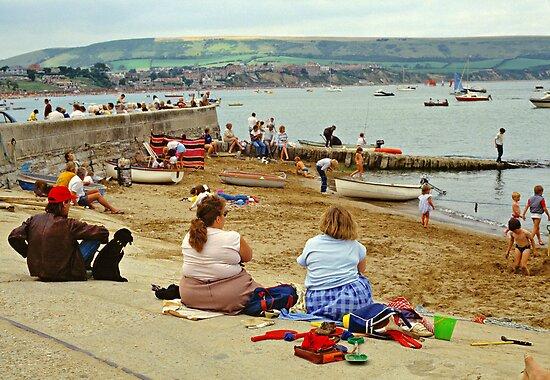 Beach scene, Weymouth, UK., 1980s. by David A. L. Davies