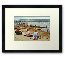 Beach scene, Weymouth, UK., 1980s. Framed Print