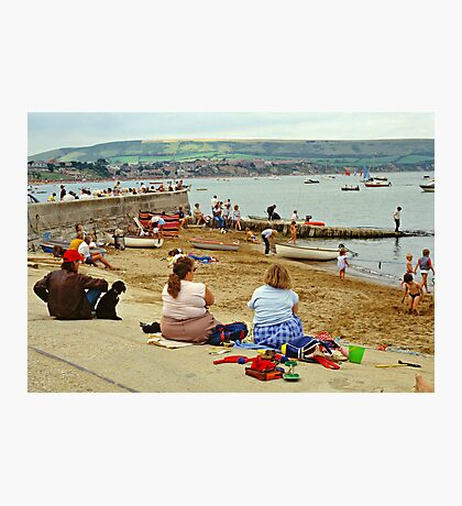 Beach scene, Weymouth, UK., 1980s. Photographic Print