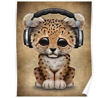 Cute Leopard Cub Dj Wearing Headphones  Poster