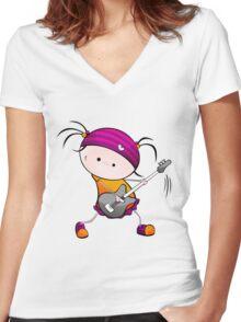 Rockstar Girl Women's Fitted V-Neck T-Shirt