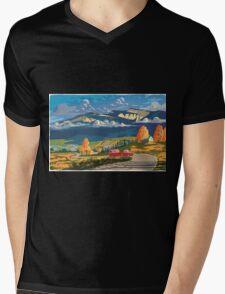 Vintage travel camper country landscape poster Mens V-Neck T-Shirt