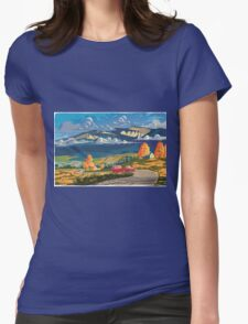 Vintage travel camper country landscape poster Womens Fitted T-Shirt