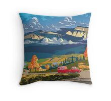 Vintage travel camper country landscape poster Throw Pillow