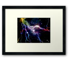 Colorful Lightning Galaxy Art Design Abstract Framed Print