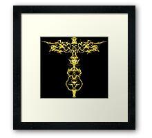 Gold key on Black Framed Print