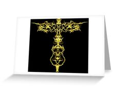 Gold key on Black Greeting Card