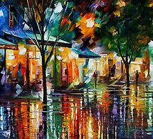 NIGHT SHOPS - OIL PAINTING BY LEONID AFREMOV by Leonid  Afremov