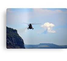 Helicopter Flying Over Charmouth Canvas Print