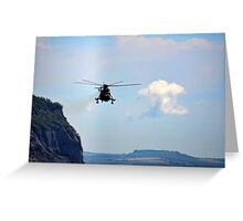 Helicopter Flying Over Charmouth Greeting Card
