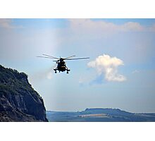 Helicopter Flying Over Charmouth Photographic Print