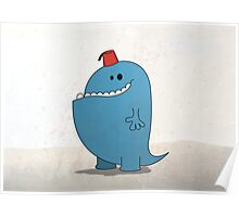Big Blue Monster with a Fez Poster