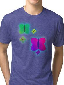 Retro-Bright Butterflies Tri-blend T-Shirt