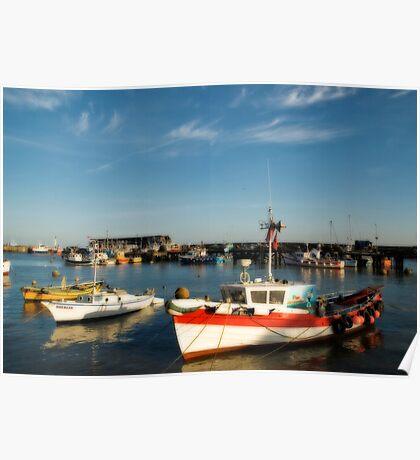 Bridlington harbour in summer light Poster