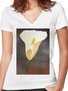 Cream Calla Lily Women's Fitted V-Neck T-Shirt