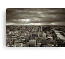 Sun Rays Over Paris - HDR Black & White Canvas Print
