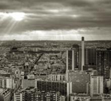 Sun Rays Over Paris - HDR Black & White Sticker